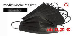 Medizinische Mund Nasen Masken in schwarz
